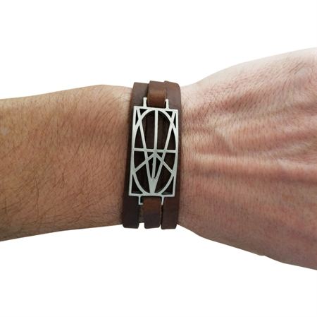 Picture of Men's Brown Leather Wrap Bracelet